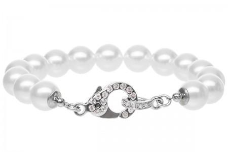 Armband med Stora Pärlor och Kristallbestrött Lås