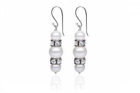 Crystal earrings Silver branch earrings Elegant earrings Rock crystal earrings Long earrings Sterling silver Pearl earrings