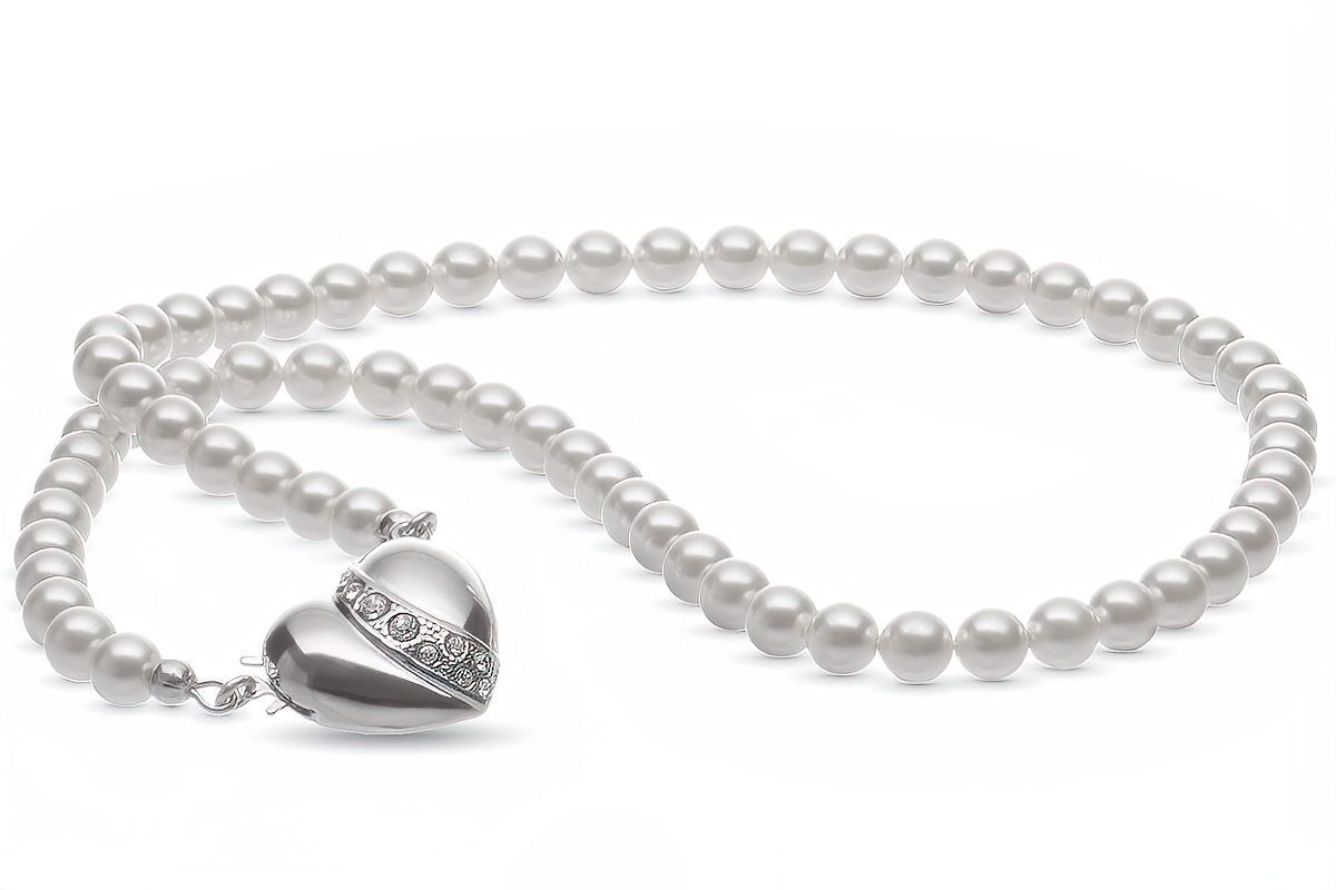 Pendant-Beautiful Shell Pearl and Silver P /& crystal heart on Black Leather Cord