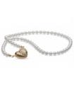Pärlhalsband med Glittrande Guldförgyllt Hjärta